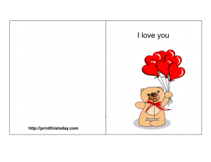 I love you card with heart shaped balloons and teddy bear