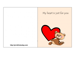 free printable love card with teddy bear and heart