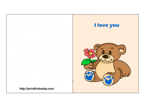 Free printable card with teddy bear and flower