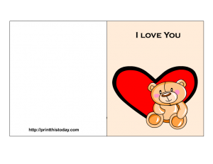 Love you card printable with cute teddy bear and heart