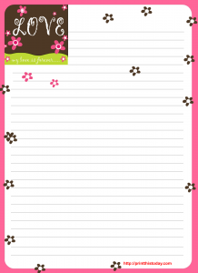 Free printable love letter pad design