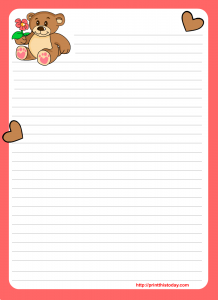 Free love letter pad design with teddy bear