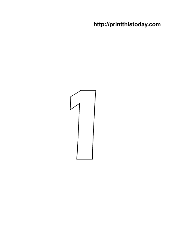 number coloring pages - 1 Coloring Page
