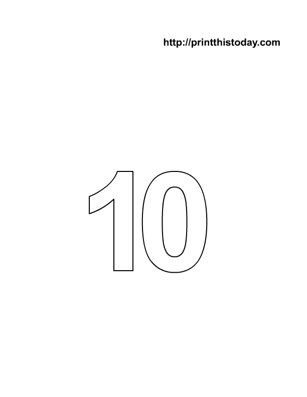 free printable number 10 math coloring page