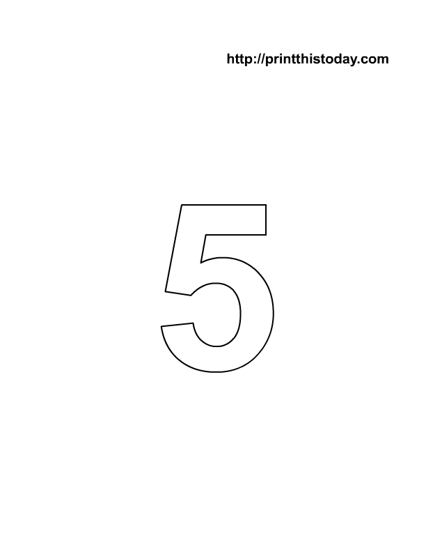 Free Printable Number 5 Coloring Page