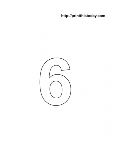 free printable number 6 coloring page