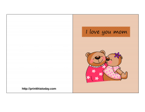 Free printable mother's day card with teddy bears
