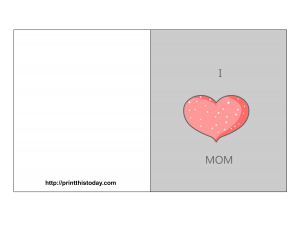 free printable mother's day card with heart
