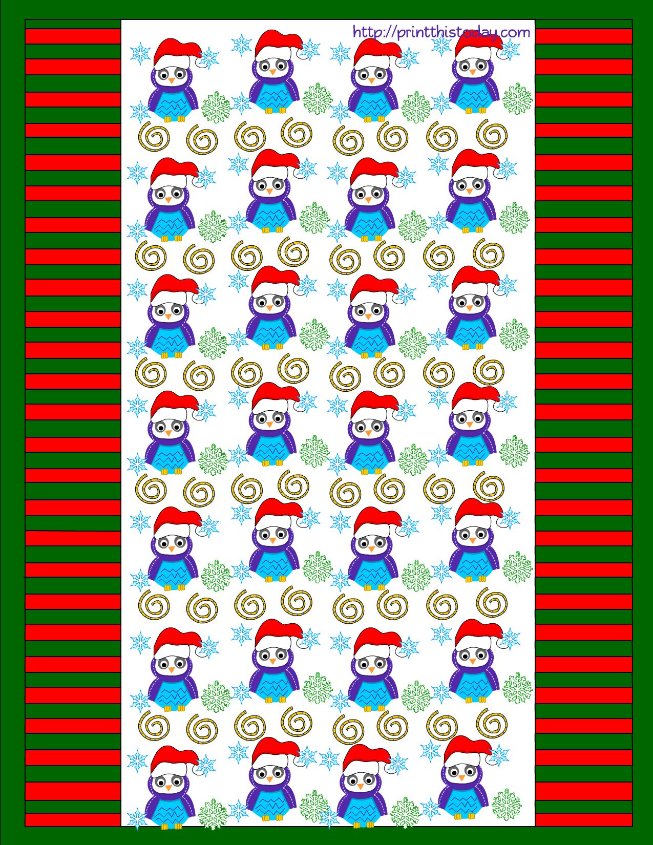 Owl Christmas Printable Stationery, Bookmarks, Candy-wrappers, Labels and More :)