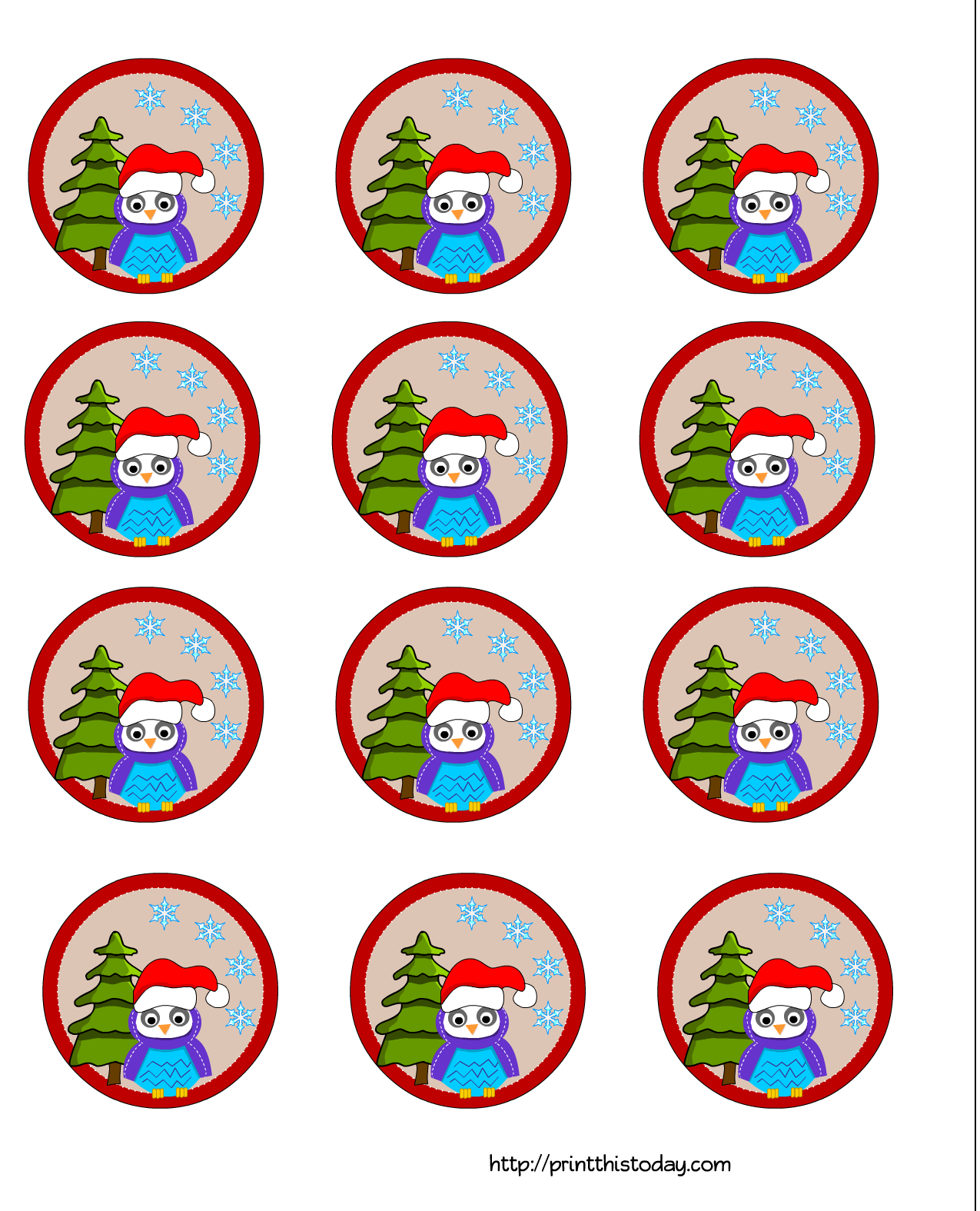 Christmas Owl Cup Cake Toppers