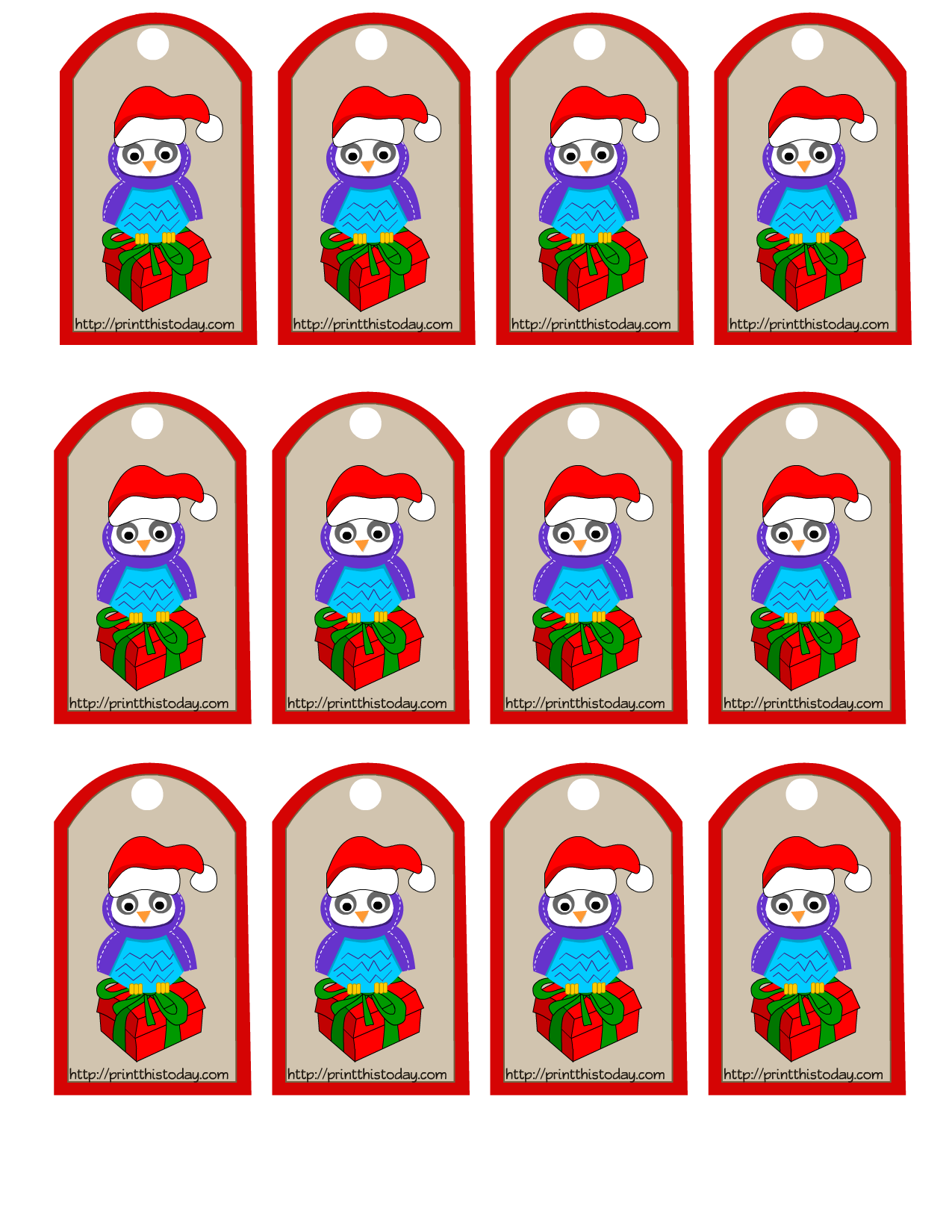 owl christmas printable stationery bookmarks candy wrappers