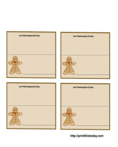 Gingerbread-man Christmas Place Cards