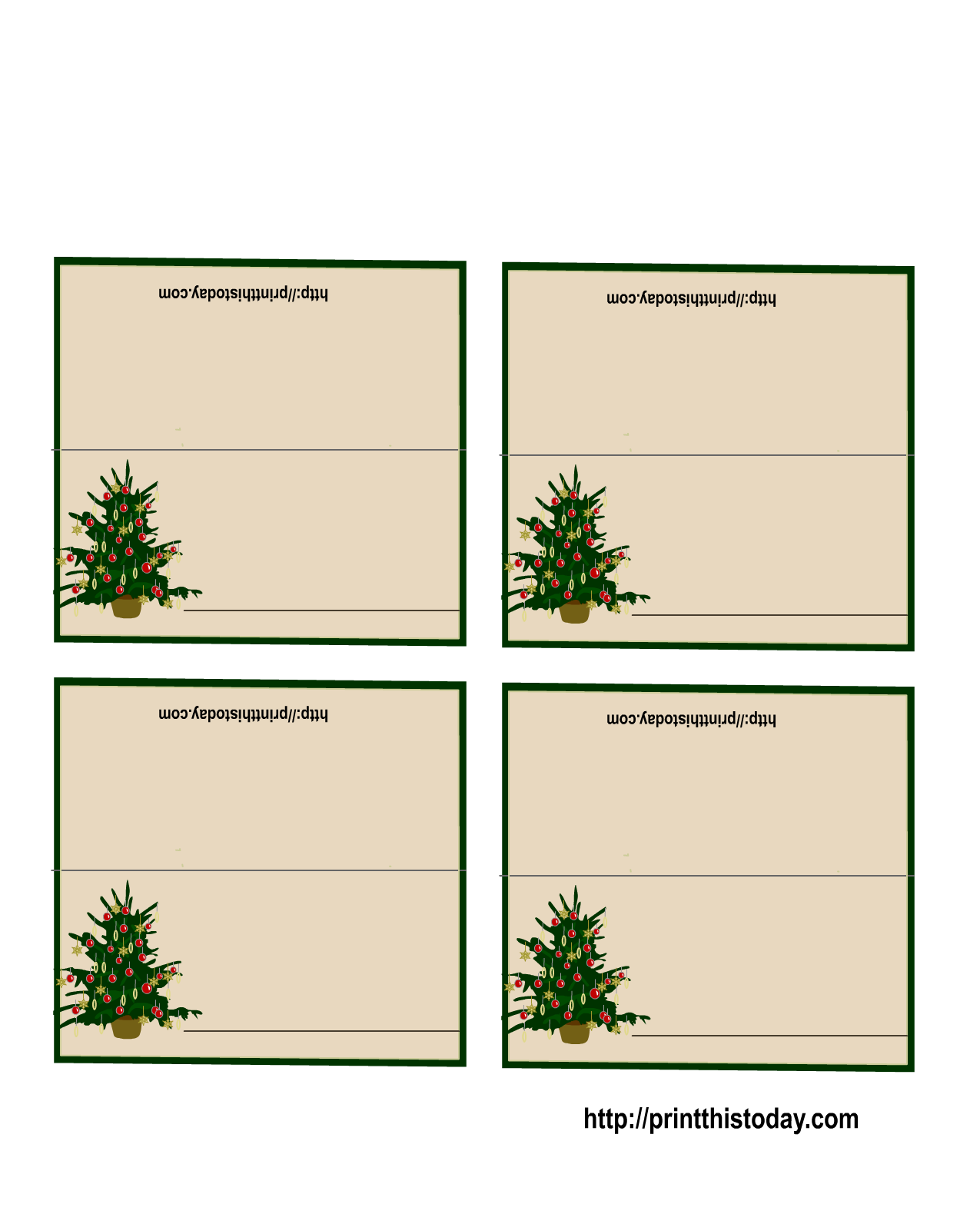 Free printable christmas place cards for Table placement cards templates