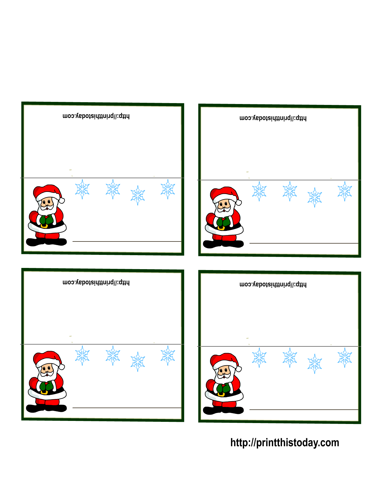 Free Printable Christmas Place-Cards