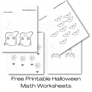 Free Printable Halloween Math Worksheets for Pre-School and Kindergarten