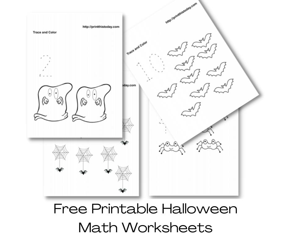 Free Printable Halloween Math Worksheets for Pre-School and Kindergarten