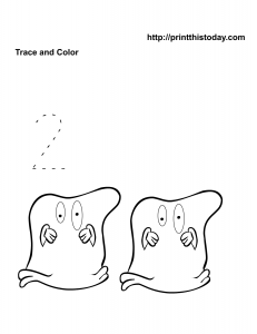 Free Printable Halloween Math worksheet to trace number 2