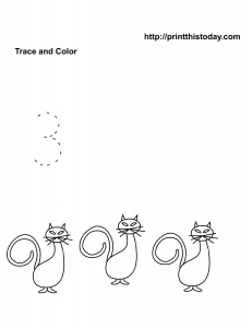 kindergarten and preschool number 3 math tracing worksheet