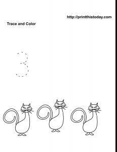 kindergarten and preschool number 3 math tracing worksheet