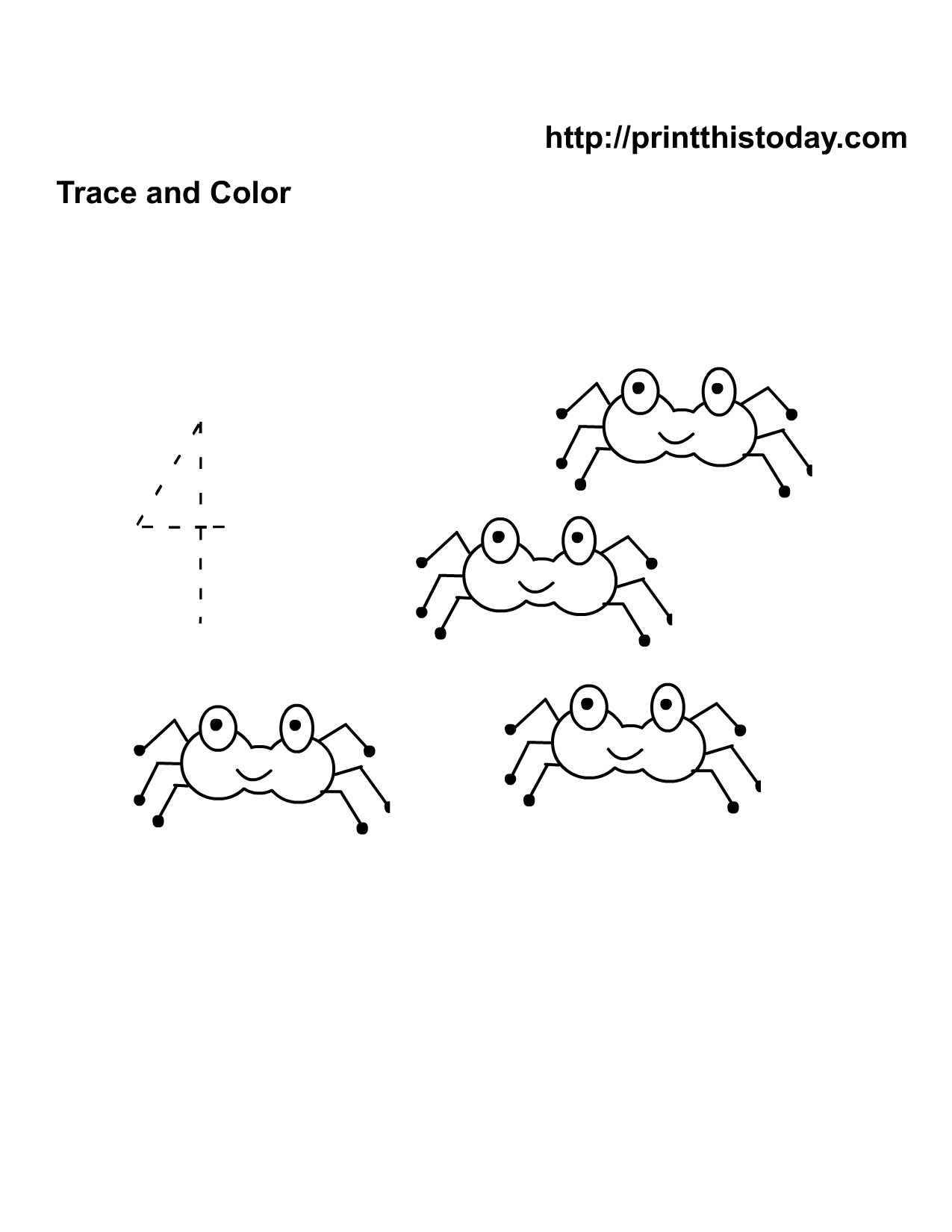 Numbers tracing printables for preschoolers - Four Cute Spiders Number Worksheet