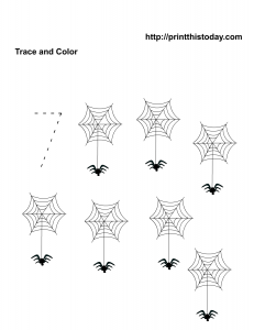 Number seven math tracing worksheet for preschool