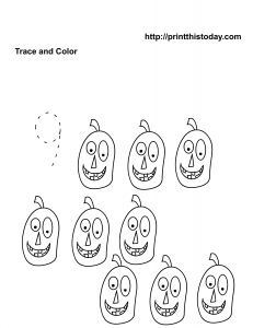 free printable Halloween worksheet for number nine