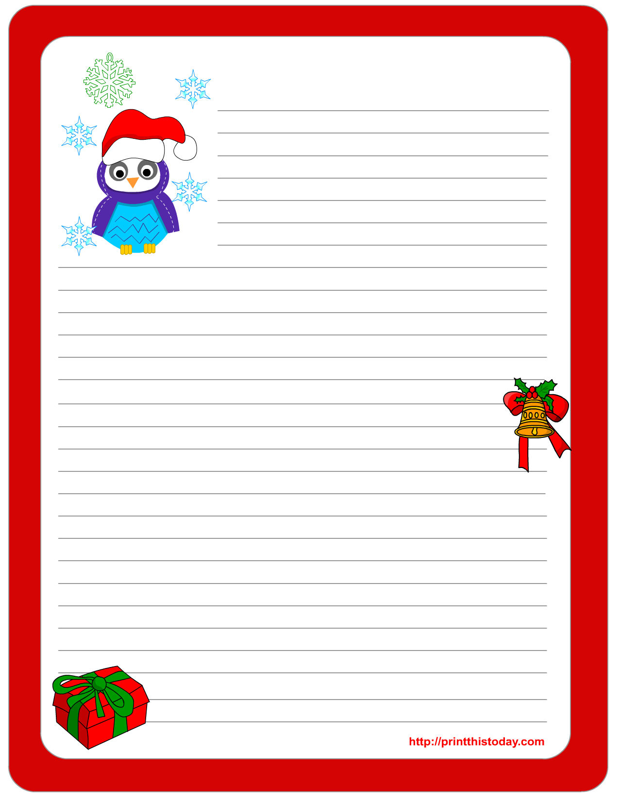 Christmas Stationery With Cute Owl Design  Free Printable Christmas Lists