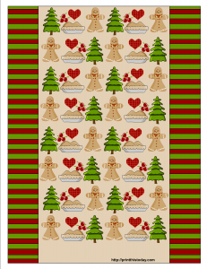 Christmas Candy Wrapper with Gingerbread man, Pie, Hearts and Christmas Tree