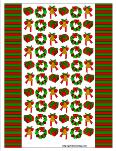 Candy Wrapper with Mistletoe, Christmas gift and Bell design