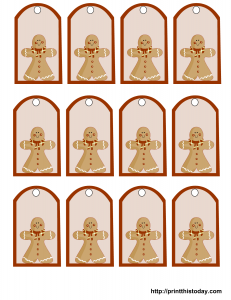Free printable Christmas gift tags featuring ginger bread man