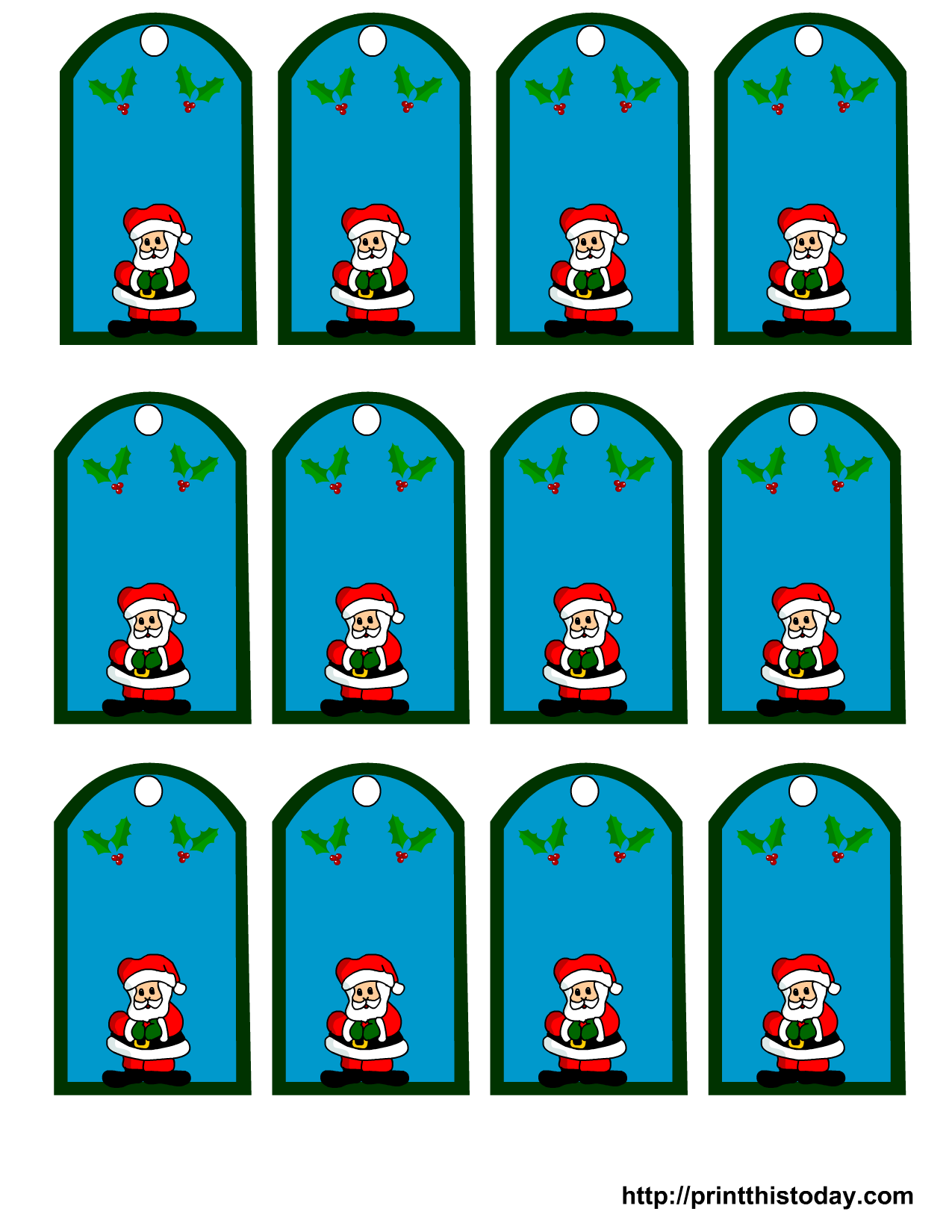 graphic regarding Santa Labels Printable identified as Printable Santa Claus Xmas Present Tags