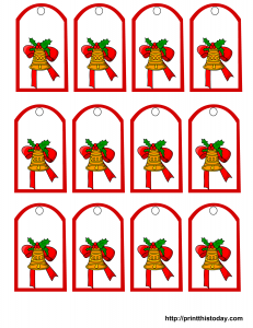 free printable Christmas tags with bell and bow