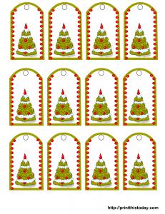 Free printable Christmas gift tags featuring Christmas tree
