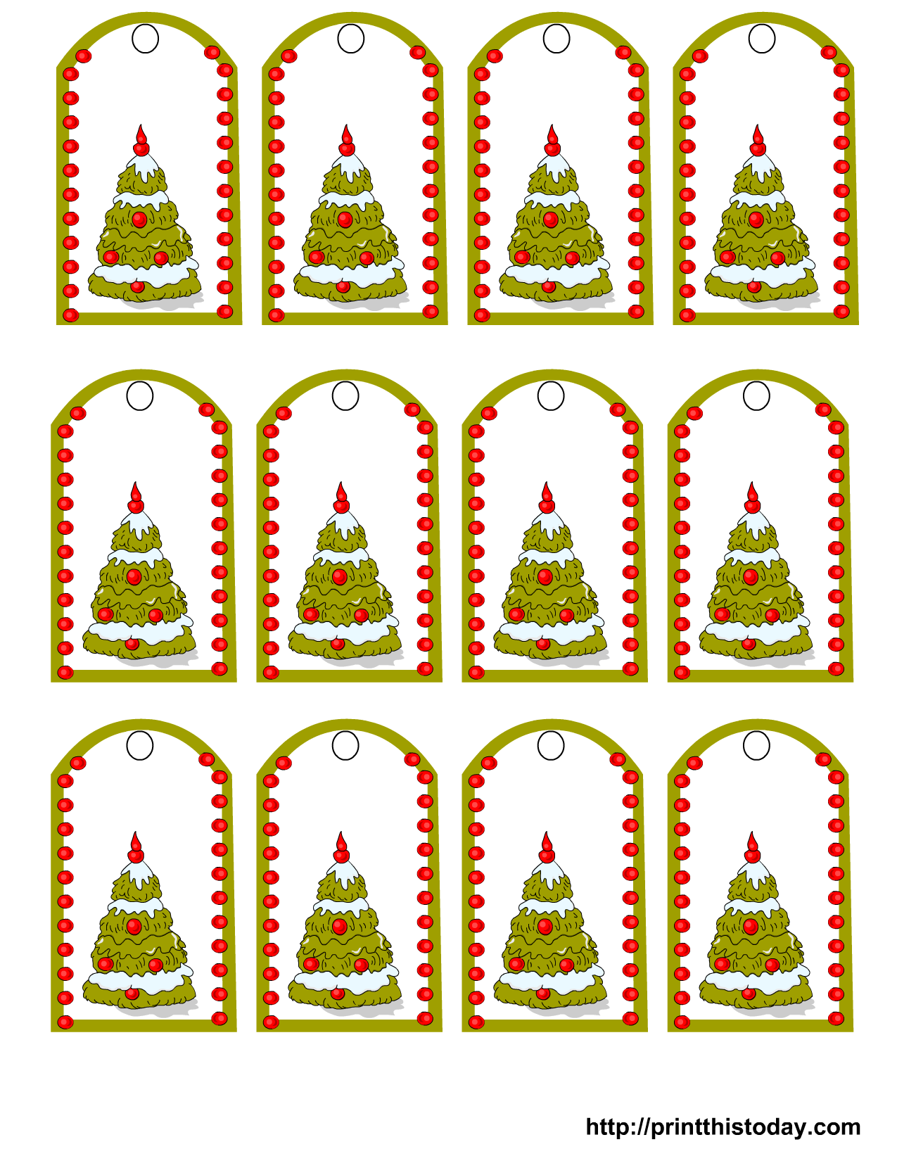 Free printable christmas gift tags featuring christmas tree for Christmas printable name tags