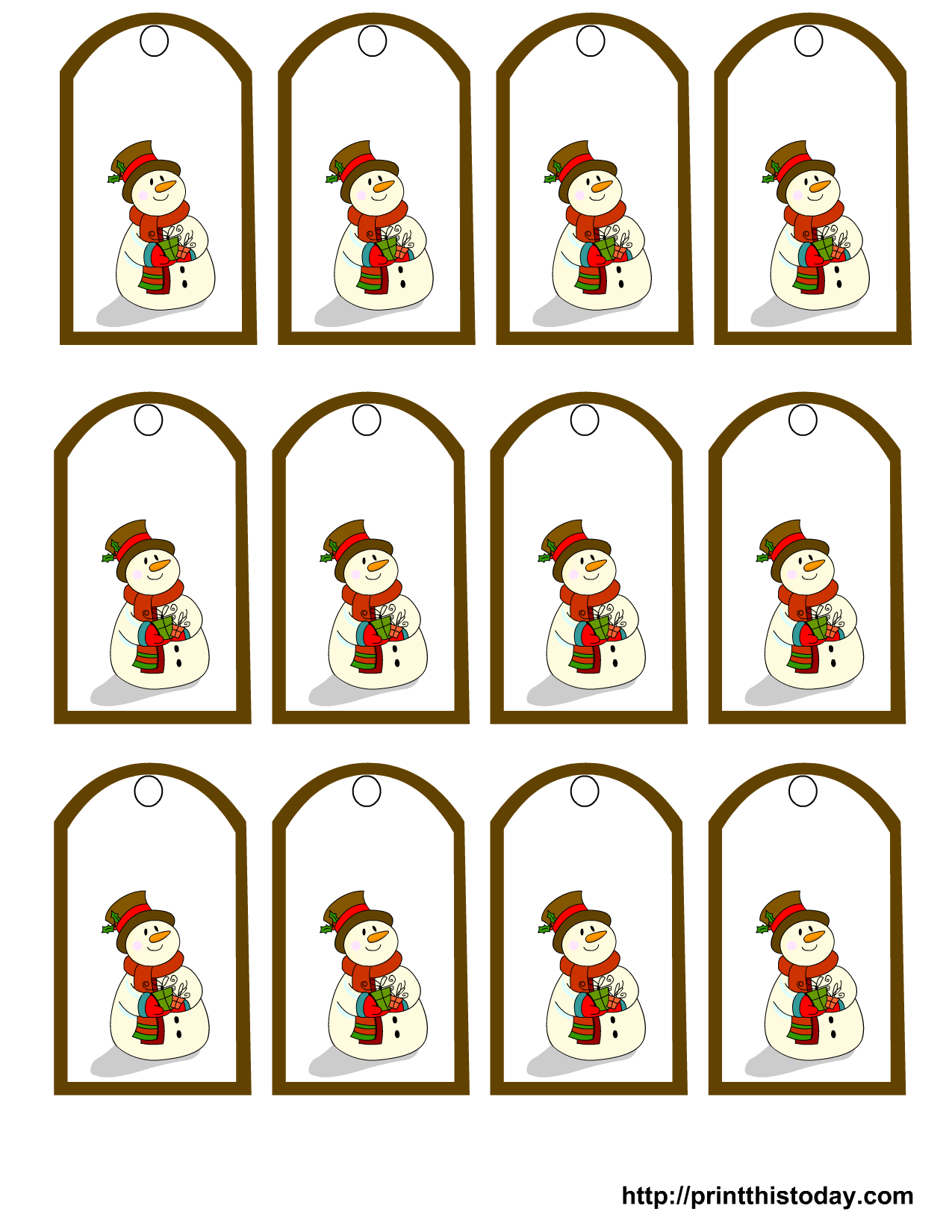 picture relating to Printable Snowman Picture named Absolutely free Printable Snowman Xmas Reward Tags