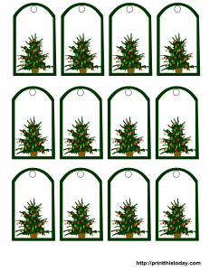 Decorated Christmas tree gift tags