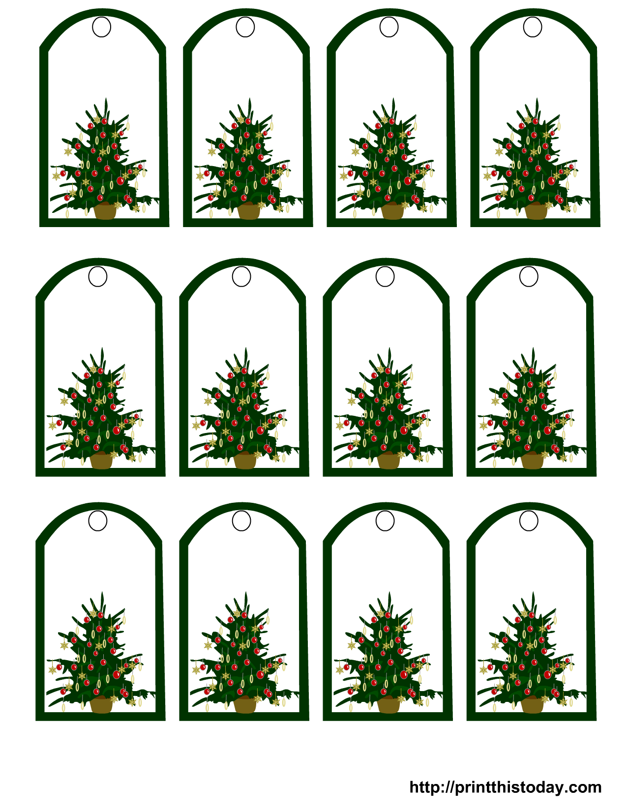 decorated christmas tree gift tags - Decorative Christmas Gift Tags