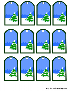 Christmas tree and snow gift tags