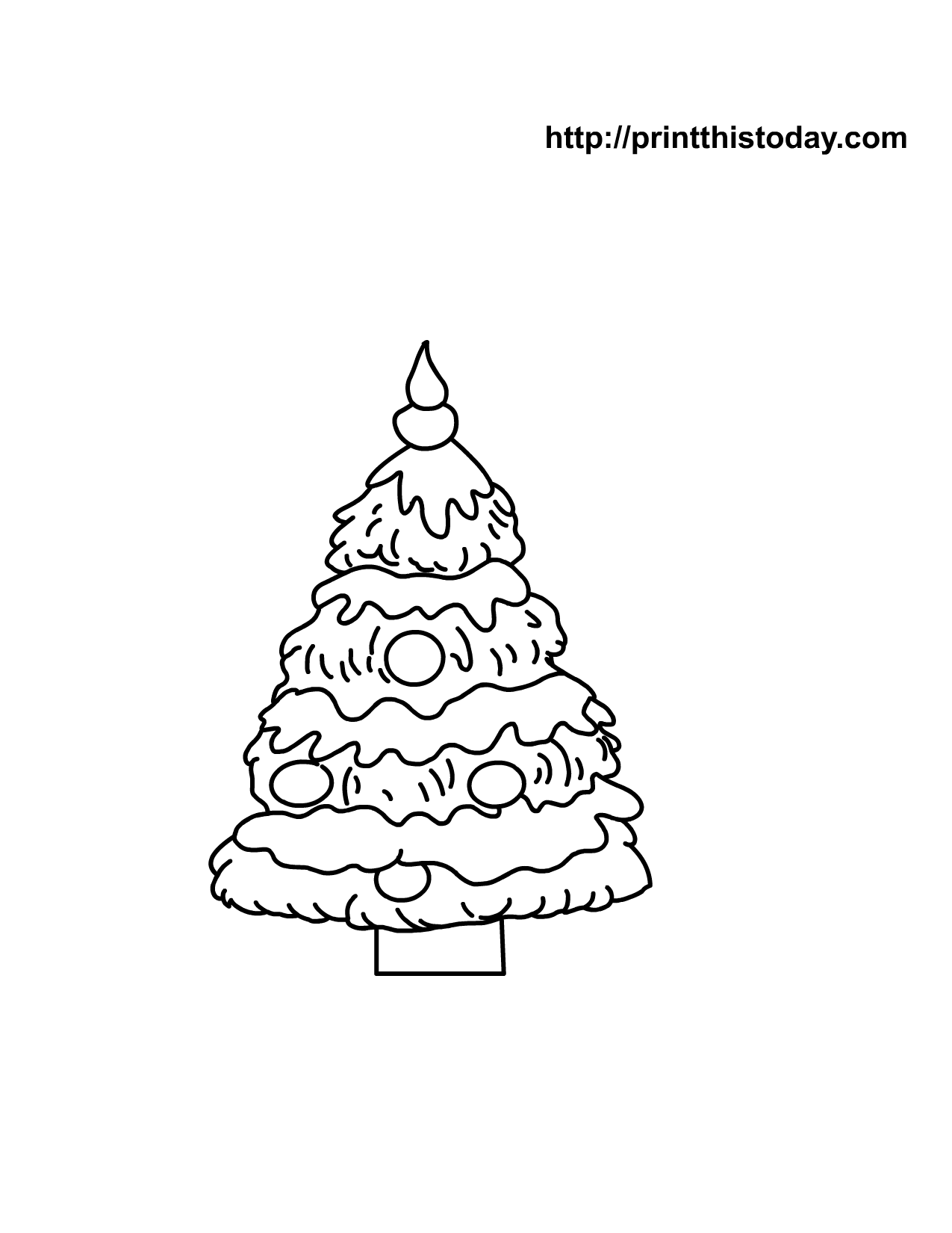 Kids coloring pages christmas trees printable - Free Printable Christmas Tree Coloring Page