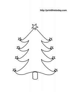 Christmas tree with star shaped ornaments coloring page