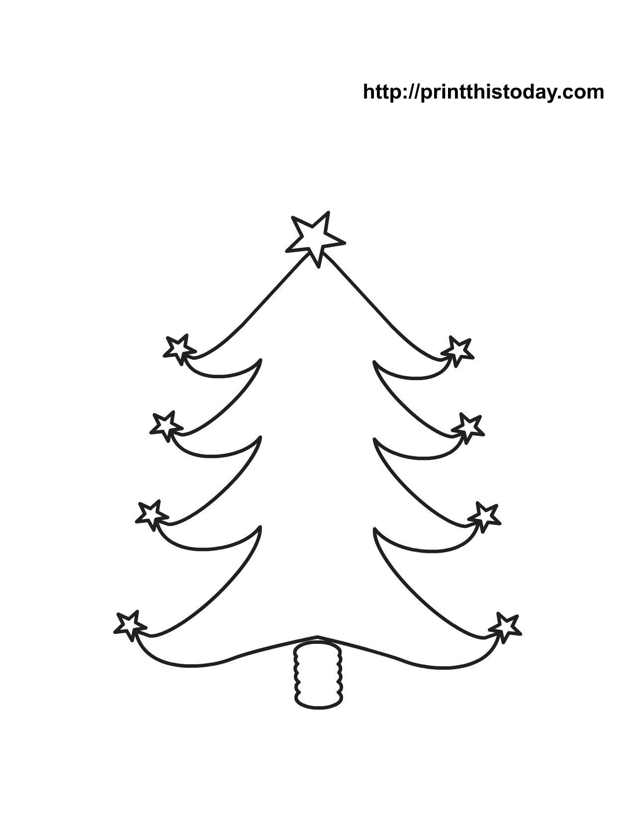 christmas tree with star shaped ornaments coloring page - Free Printable Ornament Coloring Page 2