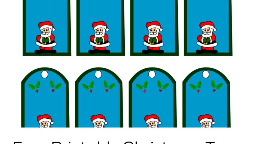 Free Printable Christmas Gift Tags with Santa Claus