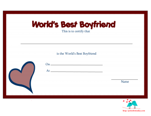 Free printable world's best boyfriend certificate