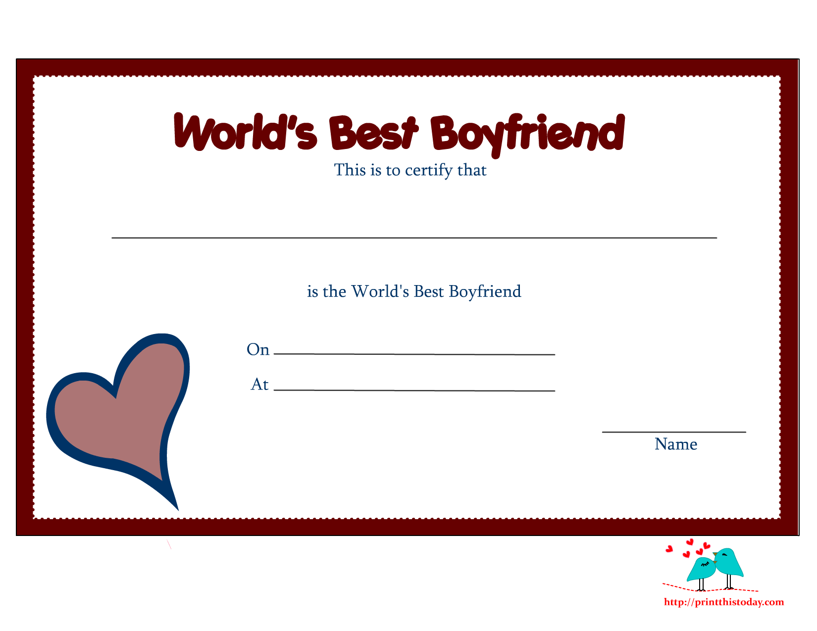 You Are The Best Boyfriend In Whole World Certificate