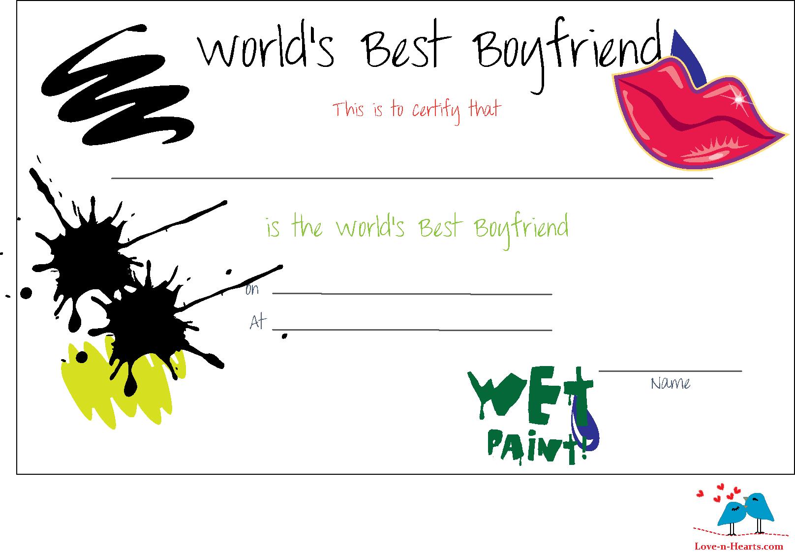 Free Printable World S Best Boyfriend Certificates