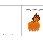 Free Printable Thanksgiving Card featuring Cute Owl