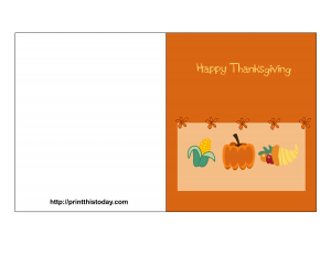 free printable card featuring thanksgiving items