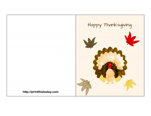 thanksgiving card featuring turkey and autumn leaves