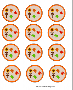 Sunflowers and leave Cupcake toppers for Thanksgiving