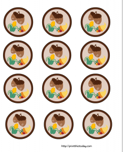 Thanksgiving cupcake toppers with Acorn and corn